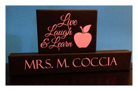 Teacher wood blocks Totally customized www.facebook.com/archerdesigns2012