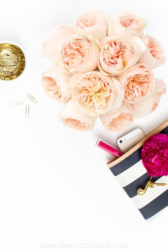 Product styling, prop styling, and photography by Shay Cochrane | www.shaycochrane.com | desktop, navy, peach, gold, fuchsia