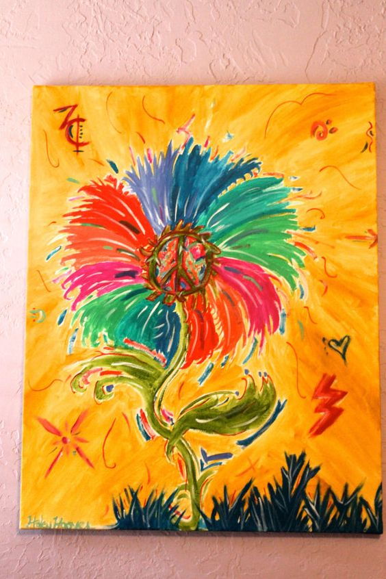 Peace Flower Hippie Art Happy Flower Child by ...