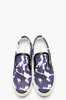MOTHER OF PEARL Indigo & White Floral Leather Trim Slip-On Sneakers
