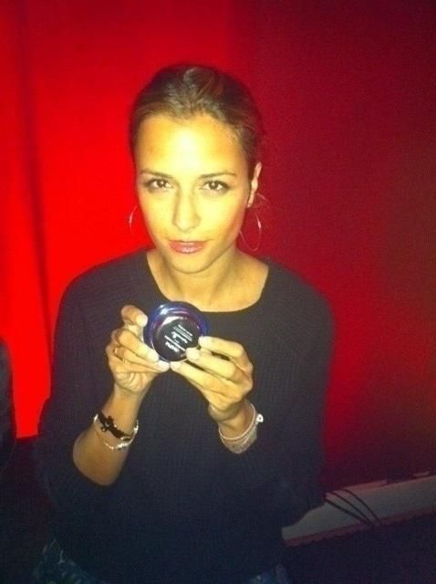 Charlotte Ronson poses with her Hydroxatone AM/PM Anti-Wrinkle Complex backstage at her Mercedes-Benz Fashion Week show!