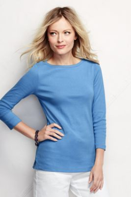 Women's 3/4-sleeve Button Boatneck Top in Calm Waters from Lands' End ✔️