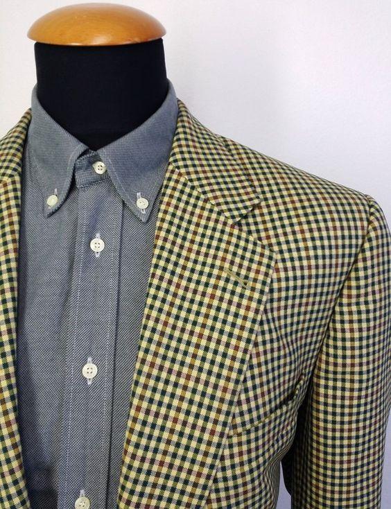 Men's Eduard Dressler Blazer size 44S Gingham Sport Coat Suit