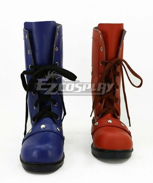 Harley Quinn Black Red Pionted Boots Shoes DC Comics Cosplay Costume Halloween