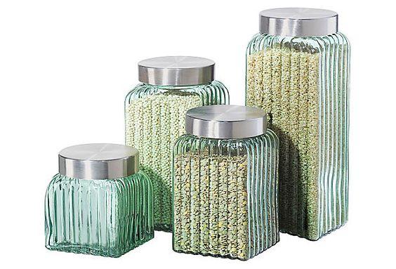 4-Pc Ribbed Glass Canister Set, Green on OneKingsLane.com | Flour, sugar, brown sugar, rice, couscous, quinoa, dried beans, sugar cubes