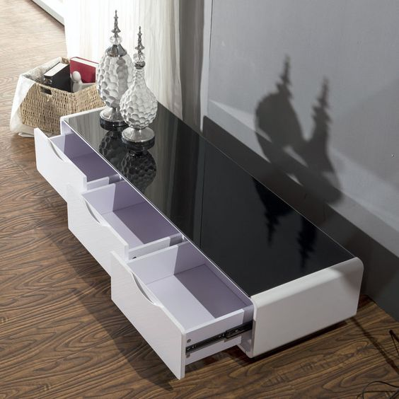 Lowline TV Unit New Hi High Gloss WHITE Entertainment Unit stand BLACK Glass Top