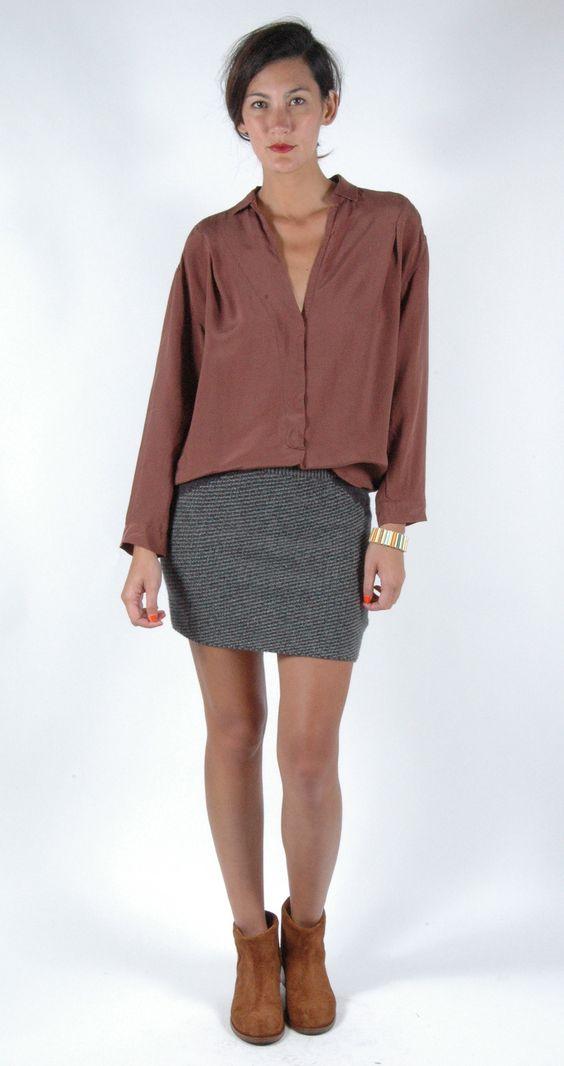 #Humanoid Long Sleeve Tunic & Tweed Mini Skirt, #Acne Paz Boots, #GROWING Jewelry Stripe Bangle