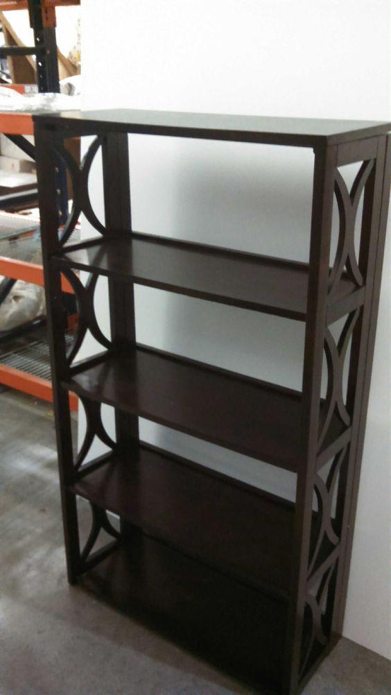 dark wood tall shelf