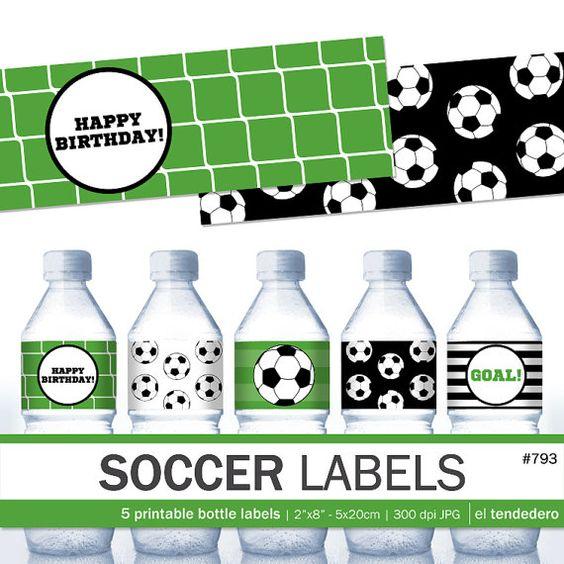 Soccer printable water bottle labels Soccer labels by eltendedero …