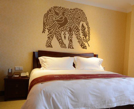 Vinilo decorativo del gr fico de un elefante estilo ind for Vinilo pared completa