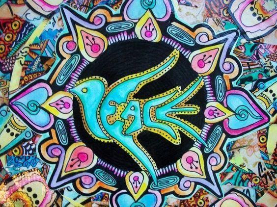 Singleton Hippie Art Original on Vinyl LP On by justgivemepeace, $135.00