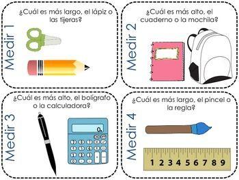 Spanish Math Measurement Kindergarten Task Cards and Worksheets ...