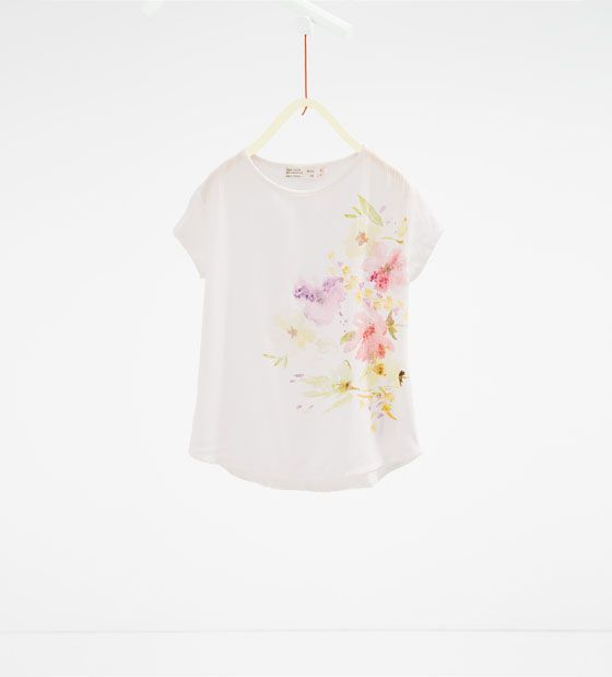 Image 1 of Sequin and floral T-shirt from Zara