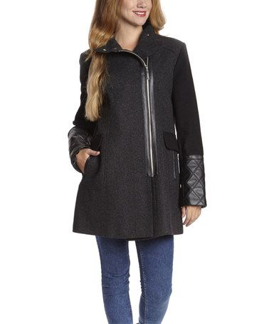 Another great find on #zulily! Charcoal Twill Wool-Blend Funnel Collar Coat by Kensie #zulilyfinds