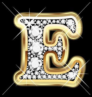M Letter In Diamond E gold and diam...