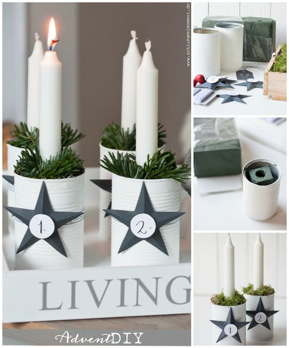 Diy Advent Wreath, Moderner Adventskranz aus Dosen: