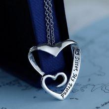 """Double pendentif coeur collier """" my sister, Mon ami """" cadeau pour sœurs meilleurs amis cadeau beaux bijoux pour femmes amitié 1PC52cm(China (Mainland))"""