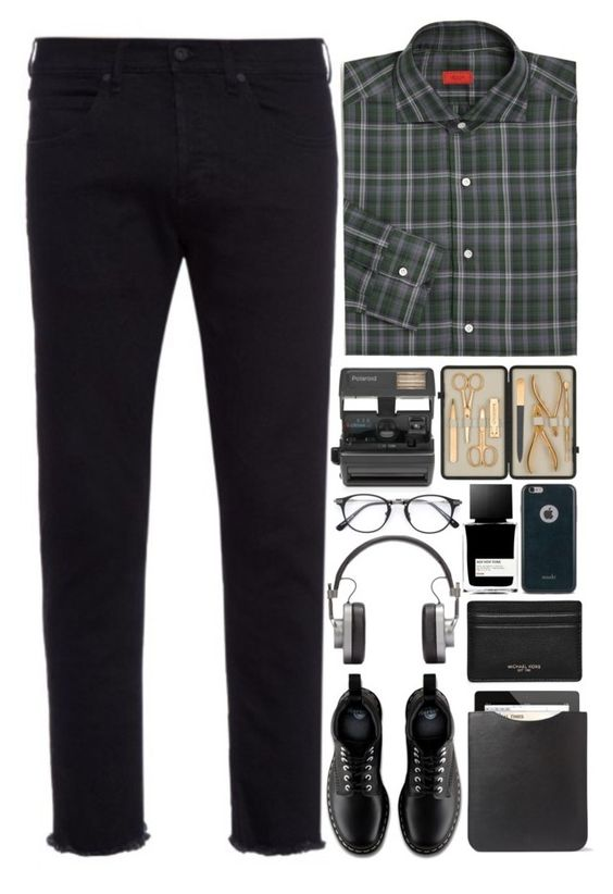 """Men's Fashion"" by annaclaraalvez ❤ liked on Polyvore featuring Off-White, Isaia, Michael Kors, Dr. Martens, Master & Dynamic, Moshi, Mulberry, MiN New York, Impossible and Czech & Speake"