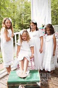 Spa jamma party? ...a bunch of little girls in white nightgowns painting their toenails....best birthday party photos ever!!!
