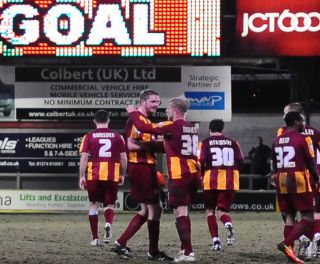 95th minute goal. Bradford City 1 V 1 Port Vale