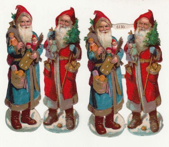 Bogen Oblaten 6135 Weihnachtsmann roter & blauer Mantel vor 1945 ! (O3)