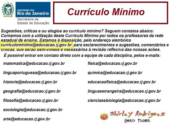SEEDUC/RJ - Curriculo Mínimo:  Internet Site,  Website, Web Site