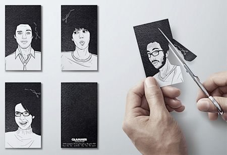 Cool business cards for Glammer Education Institute of Hair Design. Seeing this just made my whole day.