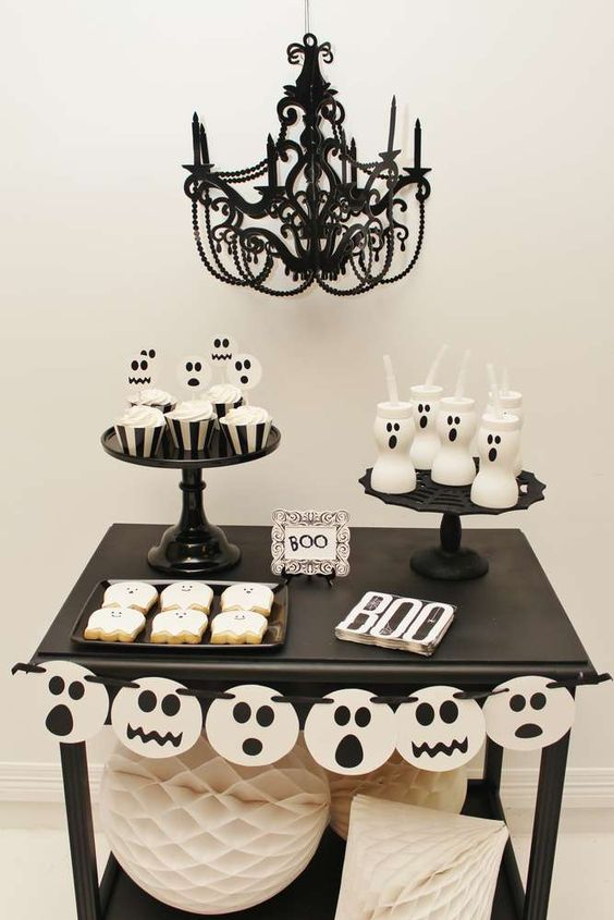 Check out this Spooktacular Halloween Party! The dessert table is so much fun! See more party ideas and share yours at CatchMyParty.com #halloween #halloweenparty