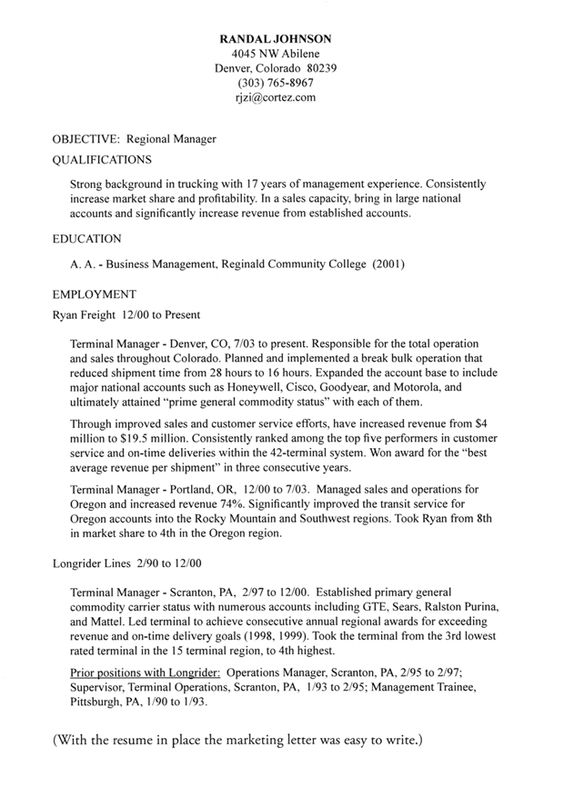 Resume Cover Letter Template -    jobresumesample 703 - district manager resume sample