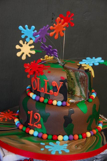 Camo paintball splat cake by The Great British Cakery, via Flickr