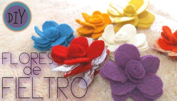 DIY Flores de fieltro,felt flowers
