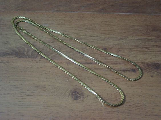 "Flat 34"" Brass Shake Chain Unbranded Used  1.8P722B48717JUNK0218   http://ajunkeeshoppe.blogspot.com/"
