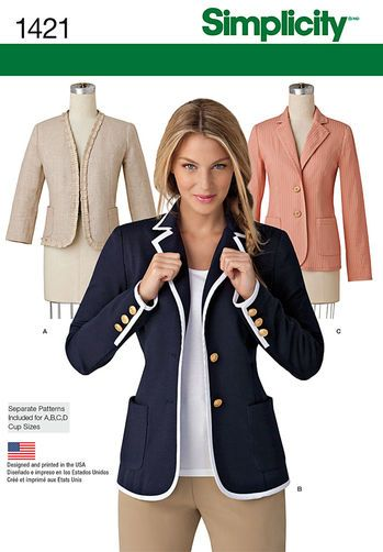 Misses' Unlined Jacket with Collar and Finishing Variations: