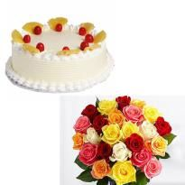 Order Roses With Cake for delivery in jaipur. Winni offers online cake delivery in Jaipur