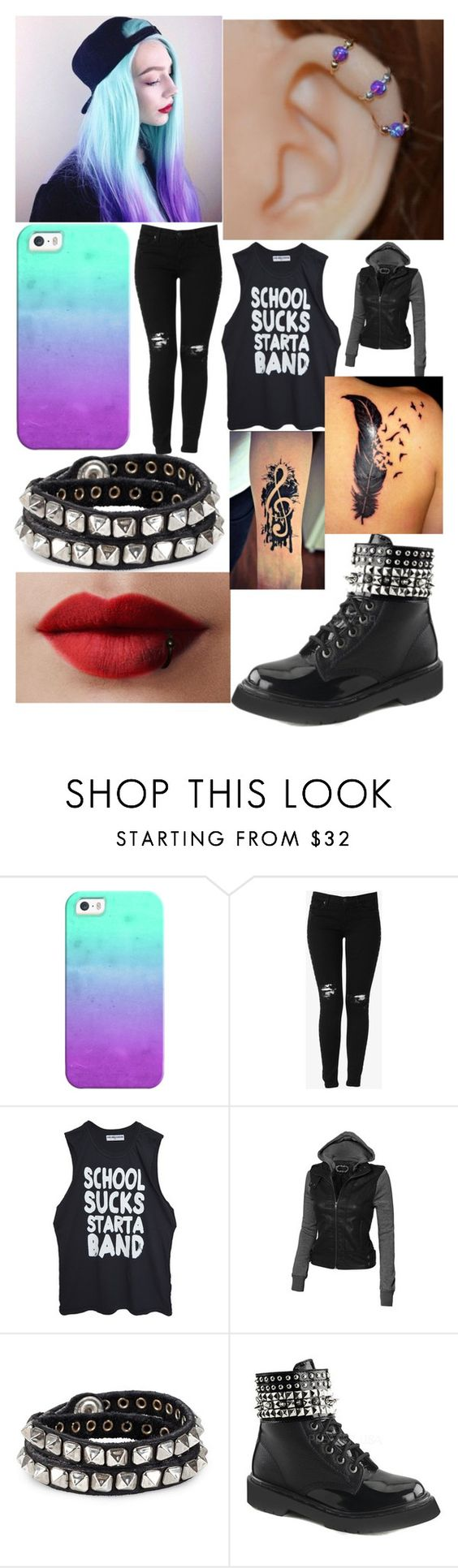 """""""School Sucks"""" by rainy-kat on Polyvore featuring Casetify, Hudson Jeans, High Heels Suicide, Diesel and Demonia"""