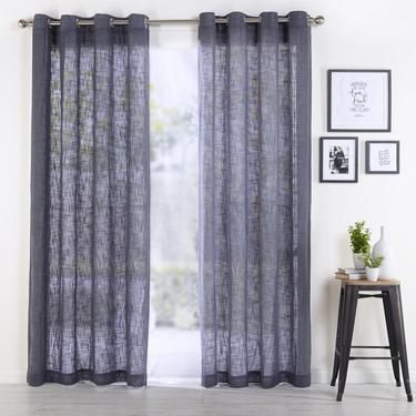 Curtains Ideas curtains in australia : Koo Aly Linen Look Eyelet Curtain Charcoal 140 x 223 cm ...
