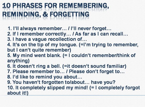 Phrases for remembering, reminding and forgetting
