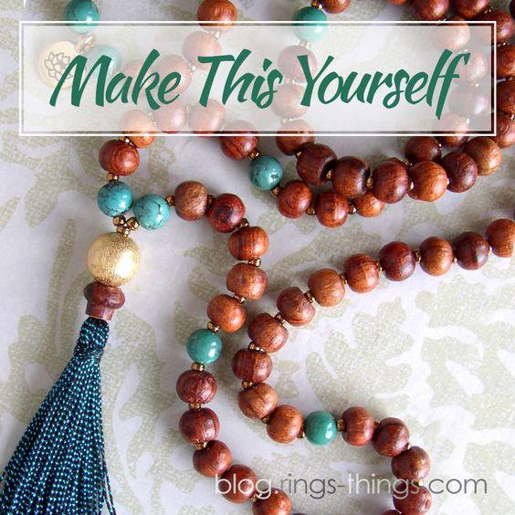 Learn to make a custom Mala prayer bead necklace with handmade tassel.