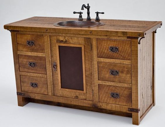 Bathroom furniture rustic vanities barnwood vanity hammered copper sink stone pedestal sinks for Rustic bathroom vanities and sinks