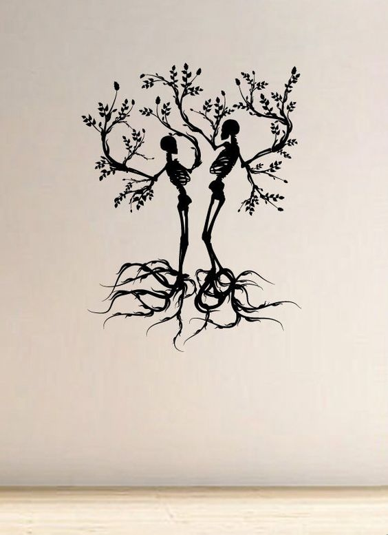 scull tree branch vinyl wall art vinyls awesome and glasses. Black Bedroom Furniture Sets. Home Design Ideas