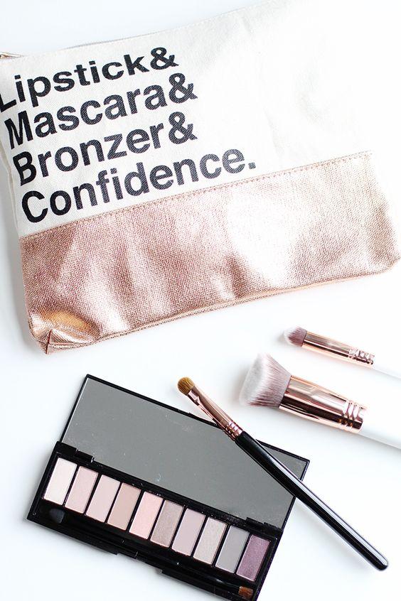 Rose Gold Makeup Bag: