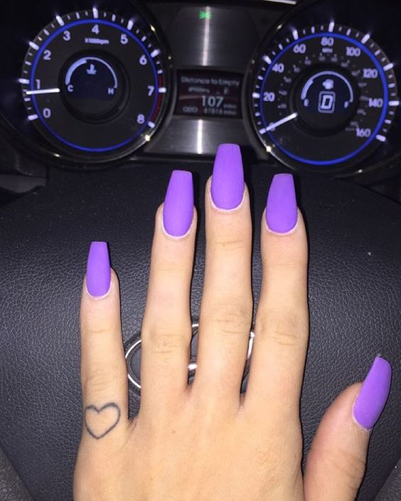 purple acrylic nails coffin