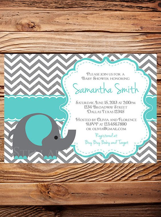 baby shower invitation teal baby shower elephant invite boy