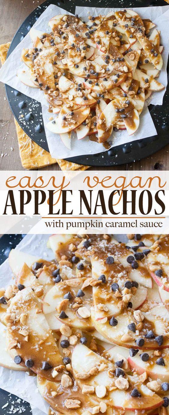 Easy Vegan Apple Nachos with Pumpkin Caramel | www.veggiesdontbite.com | #vegan…