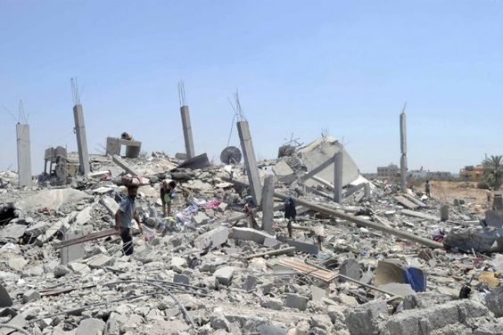 The rubble of twisted concrete and metal bakes in the hot Mediterranean sun of a regional heat wave. A year on from Israel's 51-day military operation in 2014, not a single one of the 11,000 destroyed homes in Gaza has been rebuilt.
