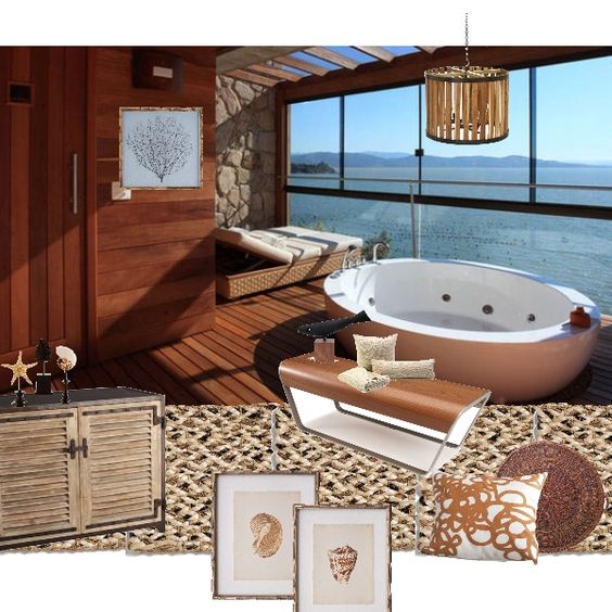"""Create your own spa at home with texture and """"ambiance""""...Don't have a view like this? A mural could give you the look!"""