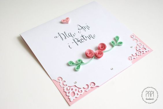 kartka ślubna ozdobna różowa ręcznie robiona