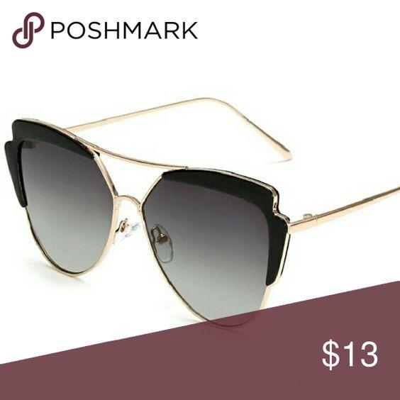 Women Sunglasses Brand New Women Gold Metal Frame Sunglasses Black Top Black Lens Accessories Sunglasses