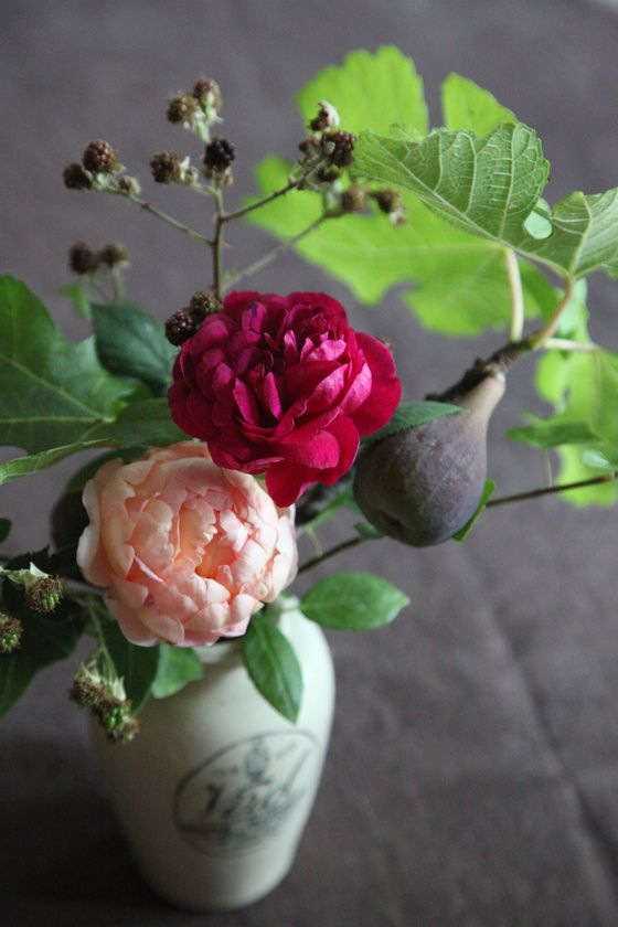 From Garden to Table. David Austin Roses, Fig Branches and Black Berry.