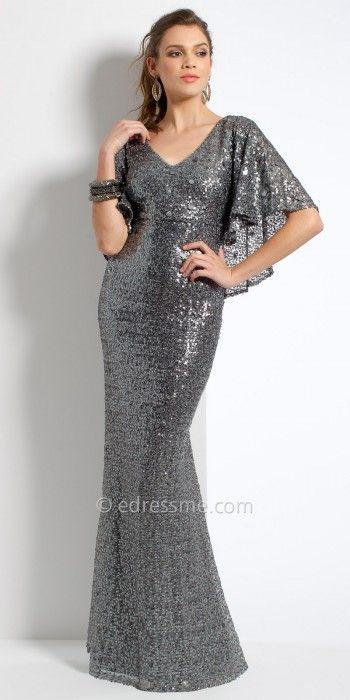Flutter Sleeve Sequin Evening Dress By Camille La Vie #edressme